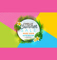 summer sale with flower and tropical vector image vector image