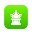 traditional korean pagoda icon digital green vector image