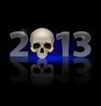 twenty thirteen year skull on black background vector image vector image