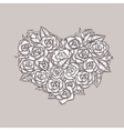 valentine day heart made roses ink drawing vector image vector image