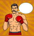 vintage boxer fighter with mustache pop art vector image vector image