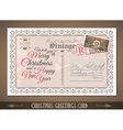 Vintage Postacard for Christmas greetings cards vector image vector image