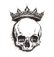 hand drawn sketch skull with crown tattoo line art vector image