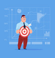 business man hold arrow not hitting target crisis vector image