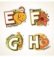 alphabet set from e to h vector image vector image