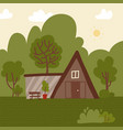 among green trees architecture concept vector image vector image