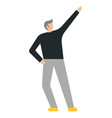 business man with his raised hand flat style vector image vector image