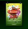 casino night flyer with vector image vector image