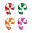 christmas cartoon icon set - candy cane purple vector image