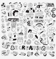 create art tools - hand drawn doodle set vector image