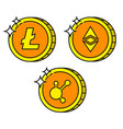 cryptocurrency black outline gold icons bitconnect vector image vector image