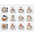 Cute coffee cappuccino and espresso kawaii button vector image vector image
