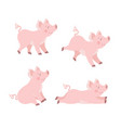 cute pig set in different poses cartoon ill vector image vector image