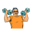 elderly man lifts dumbbells fitness sport vector image vector image