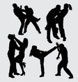 fighting martial art sport silhouette vector image vector image