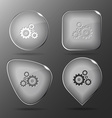 Gears Glass buttons vector image