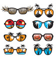 glasses set with summer vacation landscapes vector image vector image