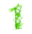 grass letters number 1 vector image vector image