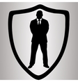 Hiqh quality shield with man in suit pictogram vector image vector image