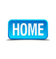 Home blue 3d realistic square isolated button vector image vector image