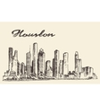 Houston skyline big city drawn vector image vector image