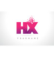 hx h x letter logo with pink purple color vector image vector image