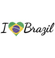 i love country brazil text heart doodle vector image