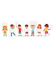 kids holding banners boy and girl vector image vector image
