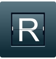 Letter R from mechanical scoreboard vector image vector image