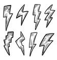 lightning bolt black and white ink doodle sketch vector image