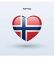 Love Norway symbol Heart flag icon vector image vector image