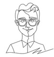 man in eyeglasses smiling portrait one line art vector image vector image