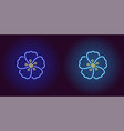 neon hawaiian flower in blue and light blue color vector image vector image