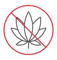 no marijuana thin line icon prohibition forbidden vector image vector image