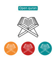 open quran outline icons set vector image vector image
