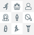 people outline icons set collection of team man vector image vector image