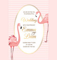 pink flamingo birds wedding invitation oval frame vector image vector image