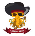 pirate octopus with ribbon banner on pirate vector image vector image