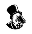 platypus wearing tophat woodcut black and white vector image vector image