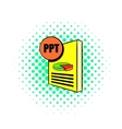 PPT file icon in comics style vector image vector image
