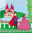 princess and the prince in a beautiful garden vector image