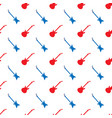 red blue guitar silhouettes seamless pattern vector image vector image