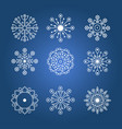 set of white linear snowflakes vector image vector image