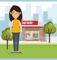supermarket seller woman character vector image