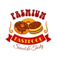 Sweet and tasty donut and cake fast food emblem vector image
