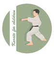 The emblem the boy is engaged in karate on a green vector image
