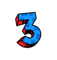 the number three with a pattern arrows flat vector image vector image