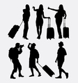 Tourist traveling silhouette vector image vector image
