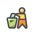 trash can people garbage icon cartoon vector image