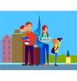 Traveling With Family Flat Design Concept vector image